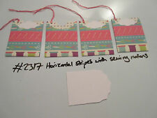 Set of 4 #2317 Horizontal Stripes with Sewing Notions Unique Handmade Gift Tags