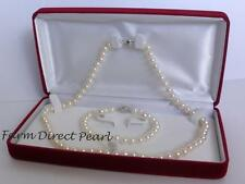 "36"" Inch Set Genuine 8-9mm White Pearl Strand Necklace Bracelet Earring Cultured"