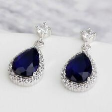 Luxury 18K White Gold GP Sapphire Blue Stud Earrings With Swarovski Crystals New