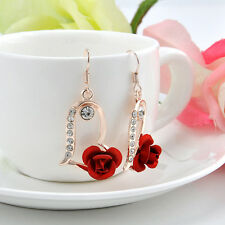 New Fashion Crystal Women Lady's Rhinestone Rose Flower Dangle Earrings Jewelry