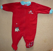 NWT Target Baby Girls Embroidered Polar Fleece Red Onesie Romper Coverall Size 0