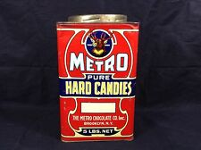 Antique Metro Chocolate Co Hard Candy Tin Rare! Brooklyn NY Stag Deer 1920's
