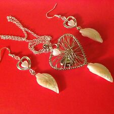 """Valentine Giftcard+Sterling Sil 22""""chain&925 Earings/dreamHeart&shell Pearl Leaf"""