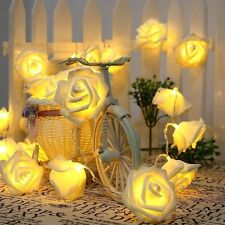 20LED Rose Flower Fairy Wedding Garden Party Christmas Decor String Lights Warm