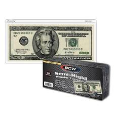 1 Pack 50 BCW Semi Rigid Regular Bill Currency Money Storage Holder Protector