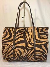 Brighton Zebra Brown Nylon Tote Large Shoulder Purse Carry all bag NICE