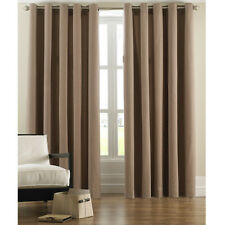 "TAUPE-BEIGE MOCHA COFFEE FAUX SUEDE FULLY LINED CURTAINS 66""x 54""  # NZ811"