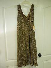 Jonathan Martin Brown & Tan Tone Stripe Pattern Wrap Dress