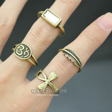 4Pcs Gold Egyptian Ankh Cross Hindu Indian Om Ohm Aum Feather Leaf Stone Ring W7