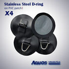 4 x BIG Inflatable Boat Stainless Steel D-RING PVC Patch BLACK