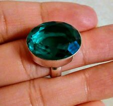 NATURAL TEAL TOURMALINE 925 STERLING SILVER RING SIZE 6.5 HANDMADE JEWELRY
