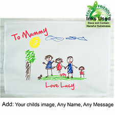 Tea Towel Child's Drawing Personalised Birthday,Mums Day/Dads Day,Wedding Gift