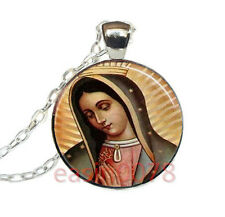 Our Lady of Guadalupe Cabochon Tibetan silver Glass Chain Pendant Necklace @870