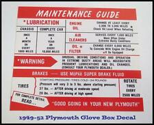 1949-1952 Plymouth New Glove Box Sticker 1950-1951 Convertible Deluxe Suburban