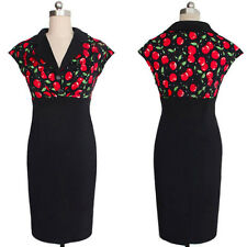 Rockabilly Pinup 50s Dress Black Polka Floral Cherries Sexy Party Wiggle Pencil