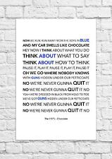 The 1975 - Chocolate - Song Lyric Art Poster - A4 Size