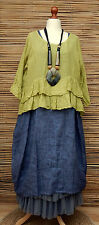 "LAGENLOOK LINEN LAYERING QUIRKY BOHO OVERTOP*OLIVE*BUST 50"" OSFA MADE IN ITALY"