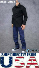 "U.S.A. SELLER - 1/6 Black Long Sleeves Shirt Blue Jeans Set For 12"" Male Figure"
