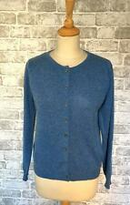 Woolovers 30% Cashmere 70% Merino Wool blu screziato Girocollo Cardigan S