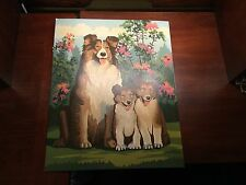 """Vintage paint by number Collies Shelties 1960's 16"""" x 20"""" Puppy"""