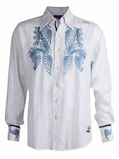 Men's Jimi Hendrix Experience Purple Label Button Shirt Rock Embroidered White M