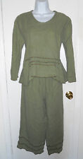 Heart's Desire by Mary Grace Lagenlook linen shirt pants set sage green brown M