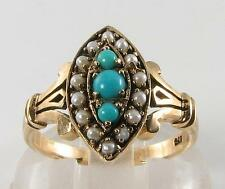 DIVINE 9K 9CT GOLD PERSIAN TURQUOISE & SEED PEARL VINTAGE INS RING FREE RESIZE