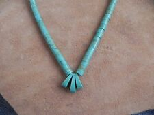 """Turquoise & Sterling Silver Jaclas style Necklace 17"""" Santo Domingo"""
