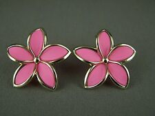Pink gold plastic flower floral stud post earrings hibiscus plumeria lily