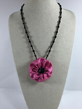 Fabric Floral Pendant Necklace Choker Brooch Pink Adjustable Crystal Poppy Satin
