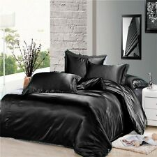 7 Piece Black Silky Satin Duvet Cover Sheet Zipper Closure Set King Size