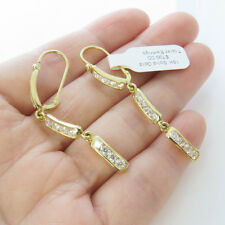 NYJEWEL 18k Solid Gold Brand New Fabulous Topaz Dangle Lever Backer Earring