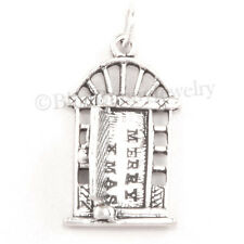 CHRISTMAS DOOR w WREATH Charm Pendant 925 Sterling Silver opens to MERRY XMAS