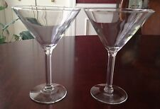 "Set of 2 Traditional Clear Stemmed Martini / Cocktail Glasses - 6-3/4"" Tall"