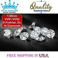 10 Round Brilliant cut Diamonds Loose Natural Real Size-1.55mm VVS D-F VG Real