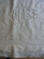 Drap 05 ancien métis blanc monogramme MB 210x290cm OLD METIS SHEET EMBROIDERED