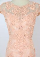 NEW $770 Jovani Cap Sleeve Lace Mermaid Dress Prom Formal Size 4 Blush Long