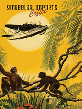 Smugglers Coffee Imports Metal Sign, Retro Vintage Prop Seaplane, Monkeys, Palms
