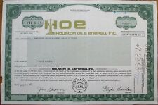 Hoe/Houston Oil & Energy, Inc. 1982 Stock Certificate - Nevada Nv
