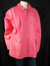 DENNIS BASSO Pink Faux Leather Coat Jacket Plus Size 2X