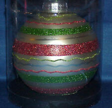 """4 """" ROUND GLASS CHRISTMAS ORNAMENT RED, GREEN AND WHITE STRIPES VERY NICE"""