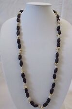 """vintage Nut/Jobs Tears/Iridescent Shell 35"""" Necklace- Hawaii,mid-20th cent"""