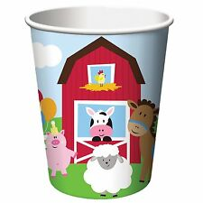 'Farmhouse Fun' Children's Birthday Party, Paper 8 x Hot/Cold Cups, Farm Animals