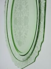 VINTAGE URANIUM GREEN DEPRESSION GLASS 0VAL TRAY PLATTER LOTUS FLOWER PATTERN