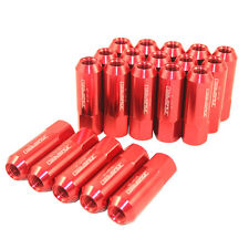 20PC JDMSPEED EXTENDED FORGED ALUMINUM TUNER RACING LUG NUTS M12X1.25 60MM RED