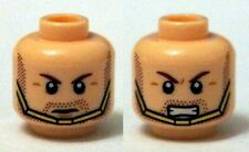 LEGO - Minifig, Head Brown Eyebrows, Stubble Beard w/ Gold Chin Strap