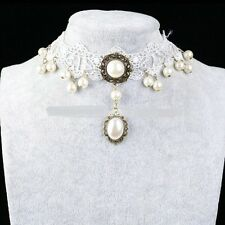 Gothic Choker White Pearl Lace Victorian Fashion Necklace Collar Jewellery