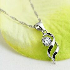 Sterling Silver Necklace Women Chain Charm Pendant Crystal Fashion Valentine's