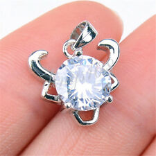 925 Sterling Silver Sparking 13mm Taurus Head Zodiac Sign Crystal Pendant H1188