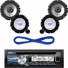 "Kenwood AUX USB CD Car Radio, Alpine 6.5"" Car Speaker Set &, 50ft  Speaker Wire"